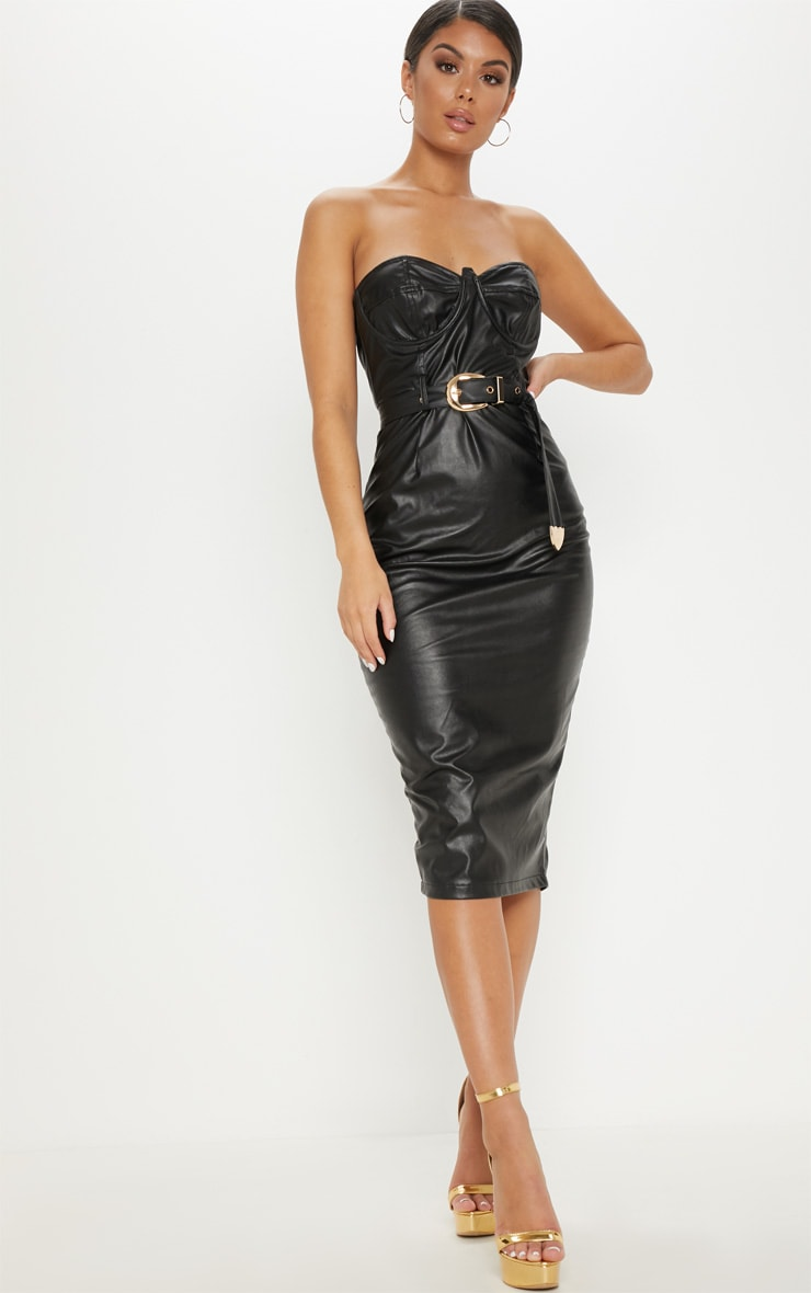 Bodycon dress bandeau leather black faux chain belted nordstrom large long