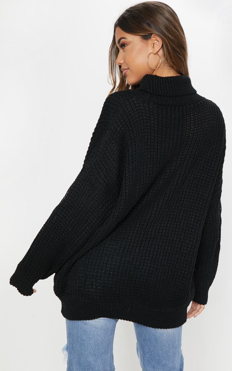 Black Oversized High Neck Knitted Jumper  2