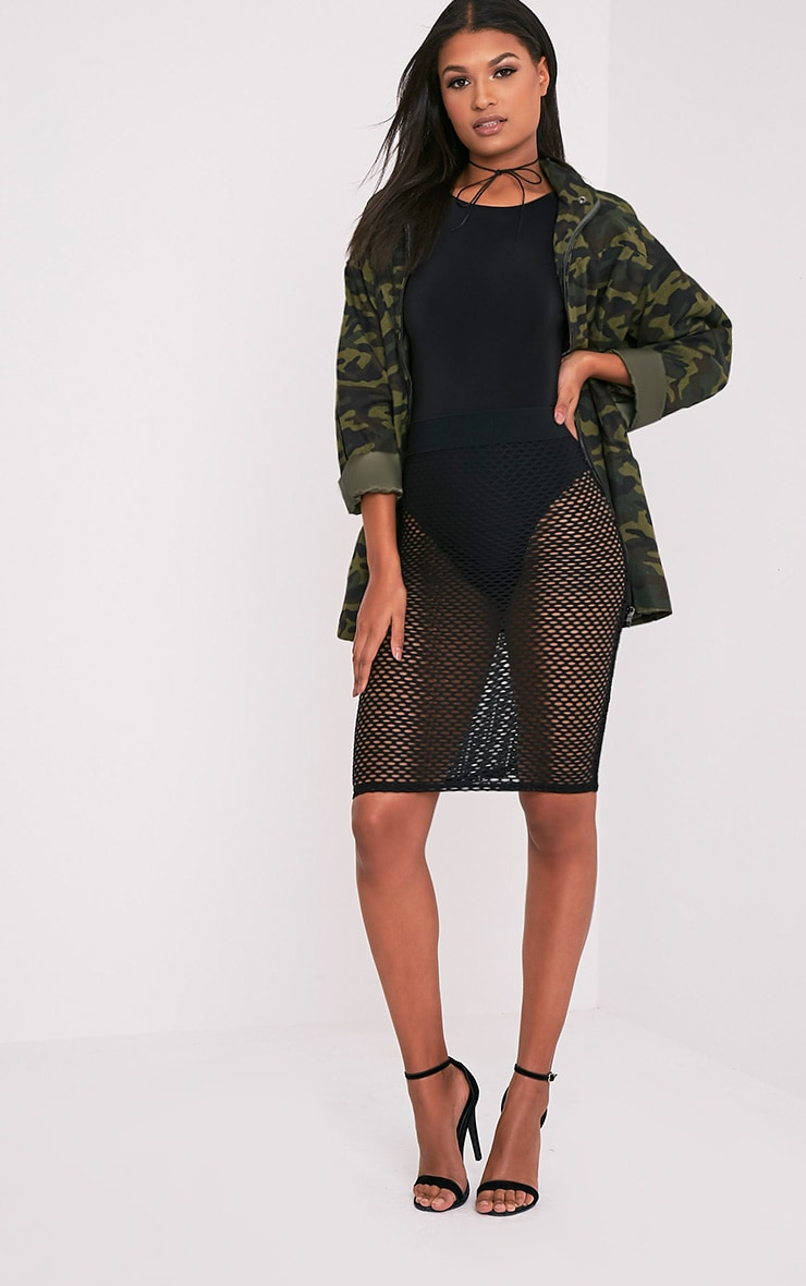 Emmia Black Fishnet Midi Skirt 1