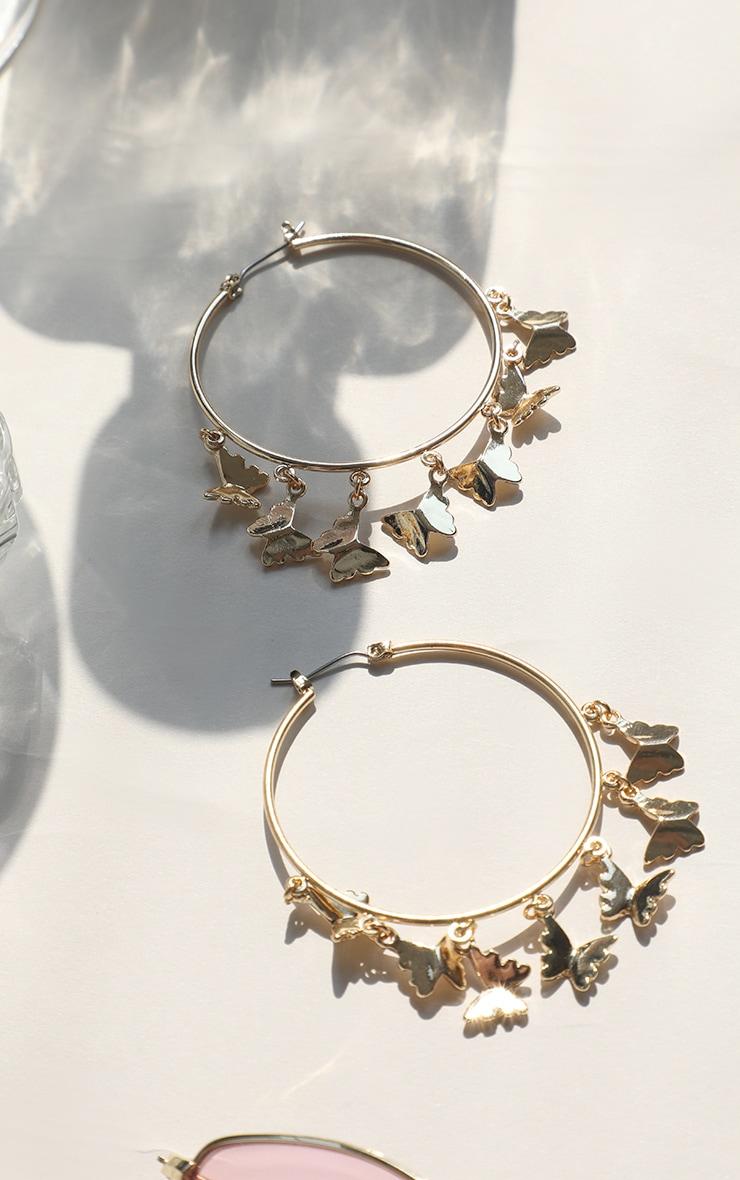Gold Butterfly Multi Hoop Earrings 1