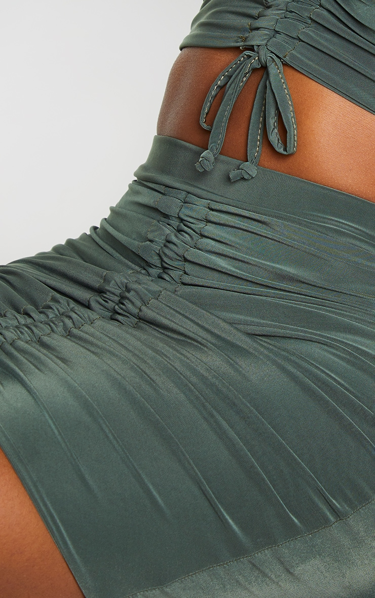 Shape Khaki Slinky Ruched Front Bodycon Skirt 5