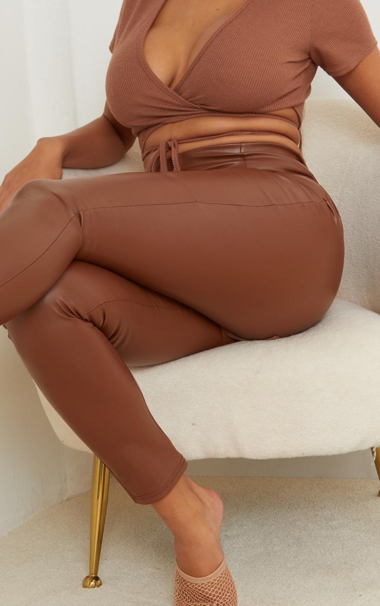 Shape Camel PU Panelled Trouser 4