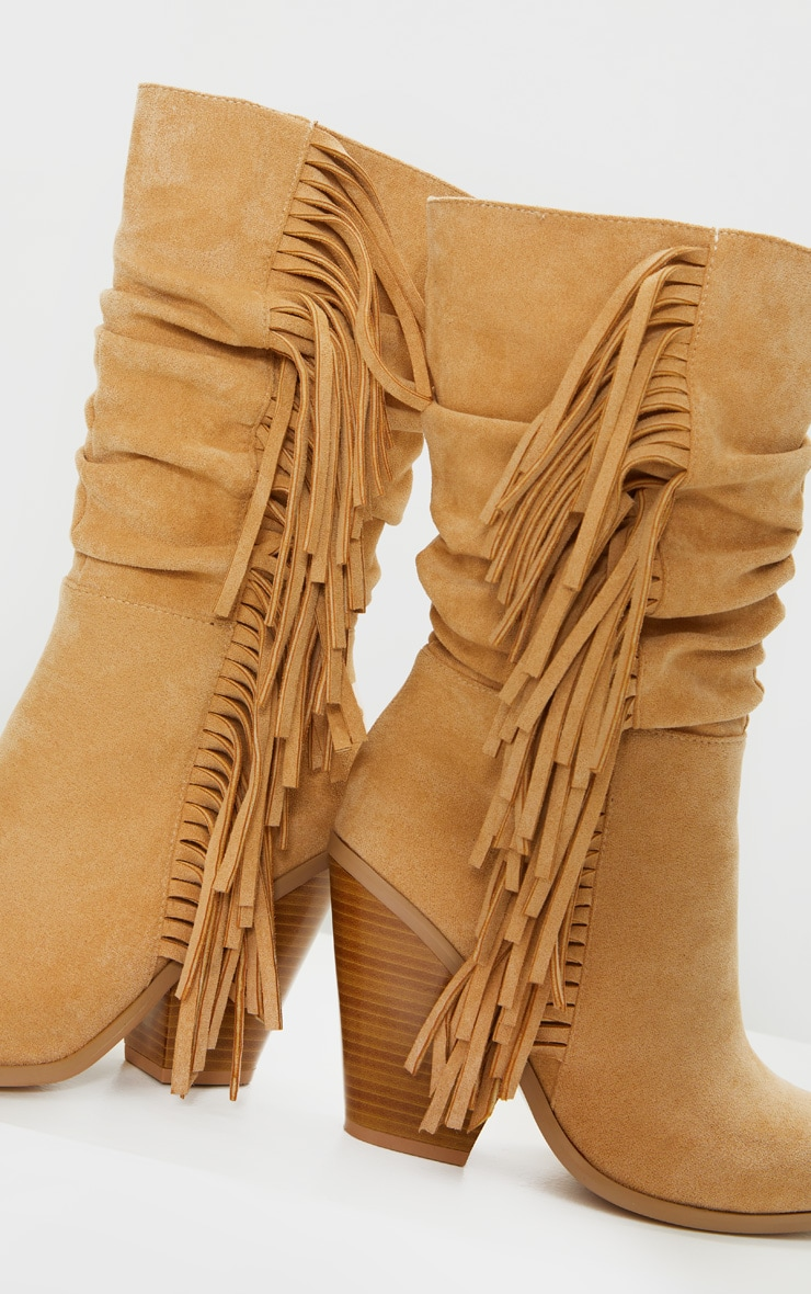 Tan Fringe Western Heel Ankle Boots 4