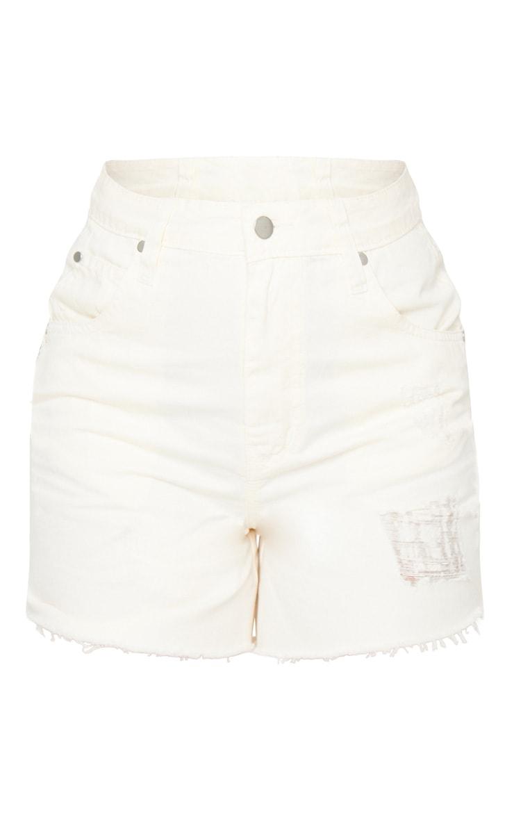 Petite Ecru Frayed Hem Distressed Denim Shorts 6