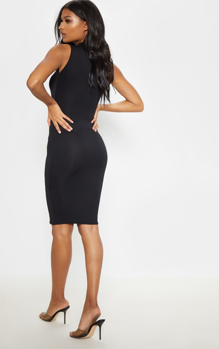 Black High Neck Sleeveless Midi Dress 2