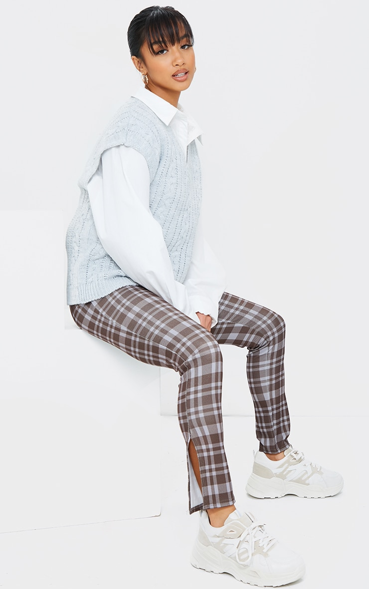 Petite Brown Checked Split Hem Trousers 1