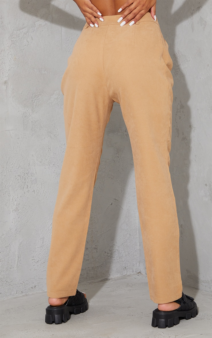 Tan Premium Twill Blend Straight Leg Trousers 3