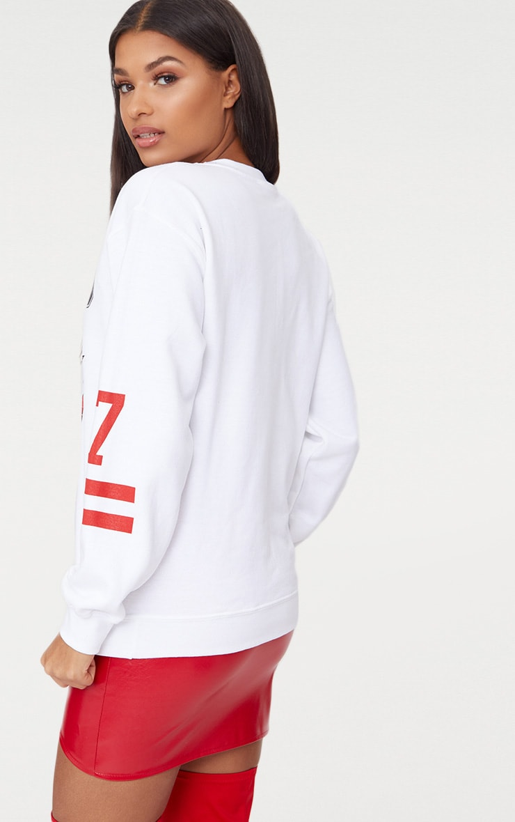 White Chicago Slogan Oversized Sweater 2
