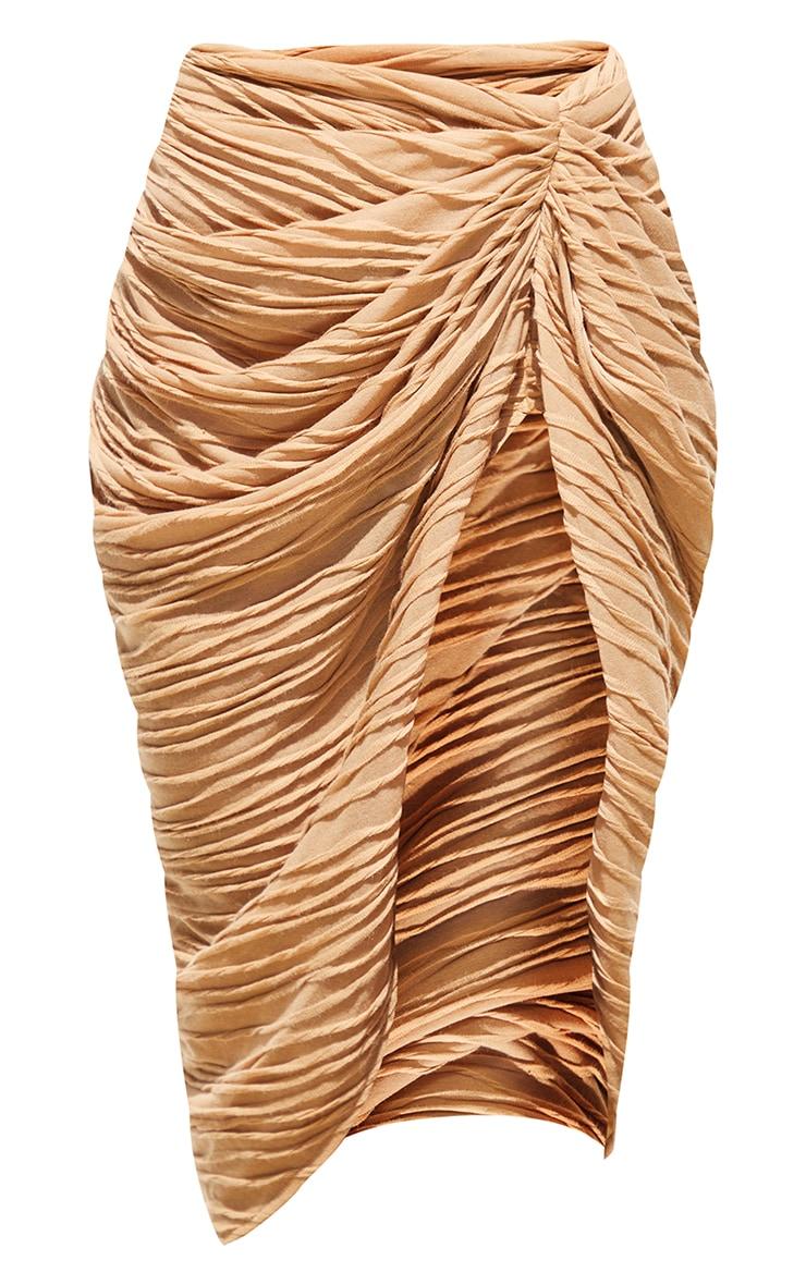 Stone Textured Dip Waist Ruched Midi Skirt 5