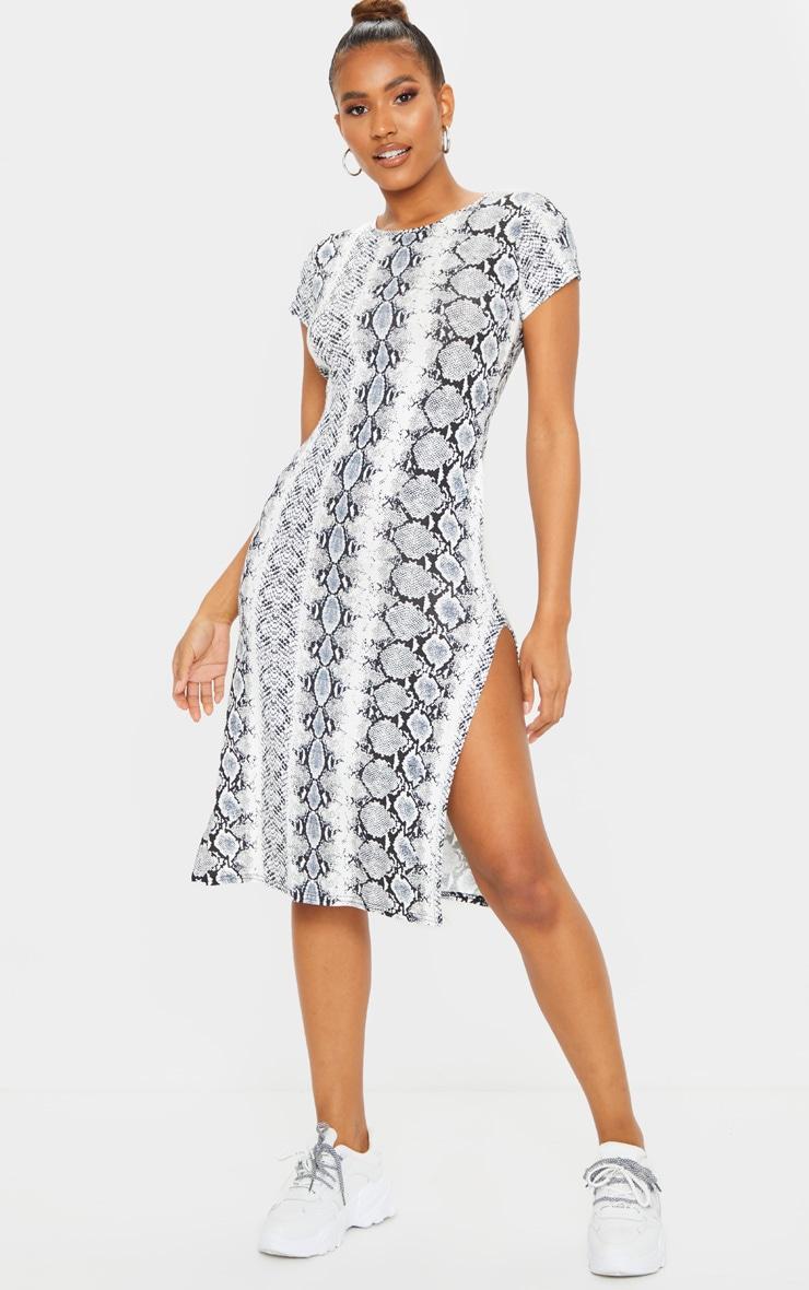 White Snake Print Print Cap Sleeve Split Side Midi Dress 3