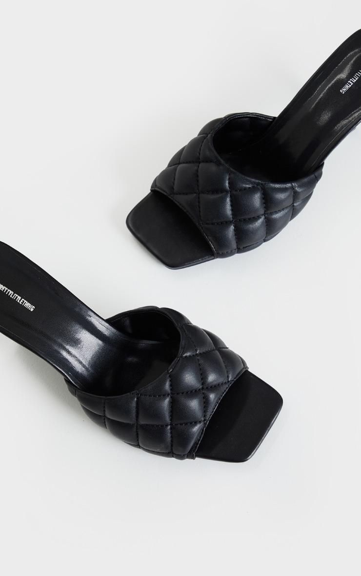 Black Quilted Mid Heel Mule 4