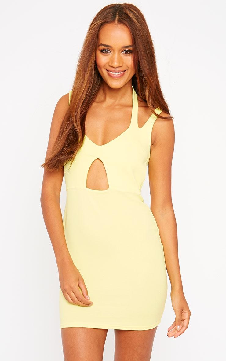 Audrina Yellow Crepe Cut Out Mini Dress 4