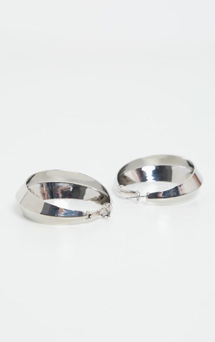 Silver V Angled Hoops 2