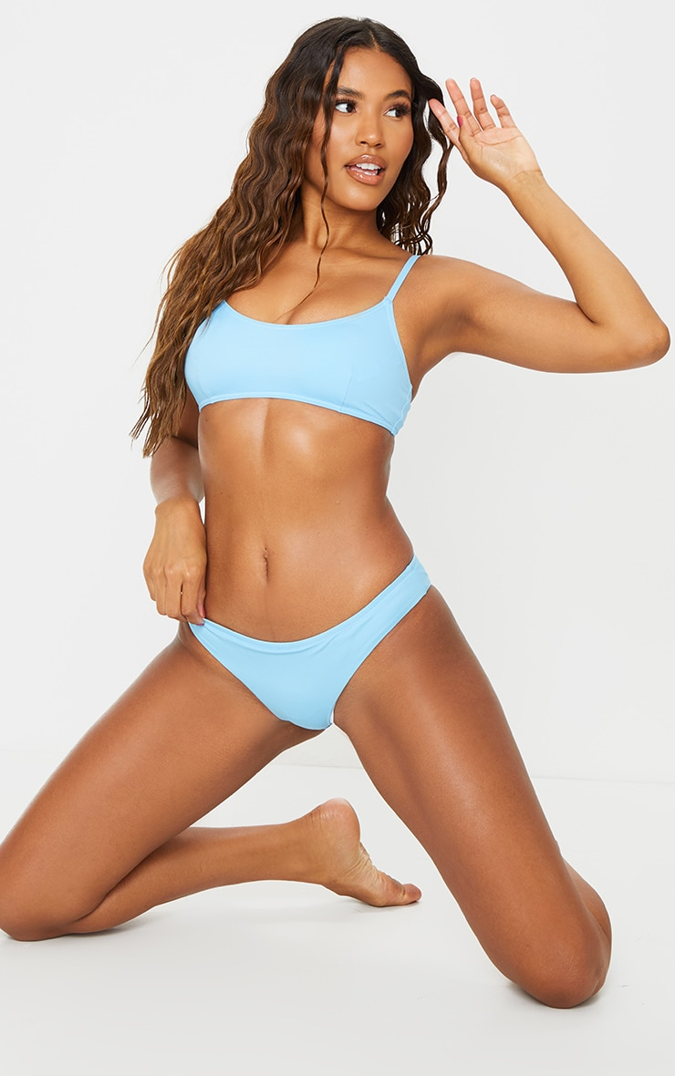 Recycled Blue Mix & Match Scoop Neck Bikini Top 3