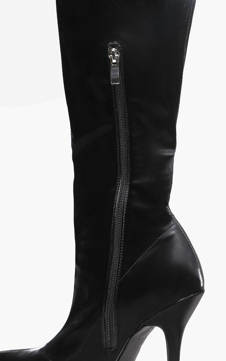 Black Satin Shine Thigh High Boot 3