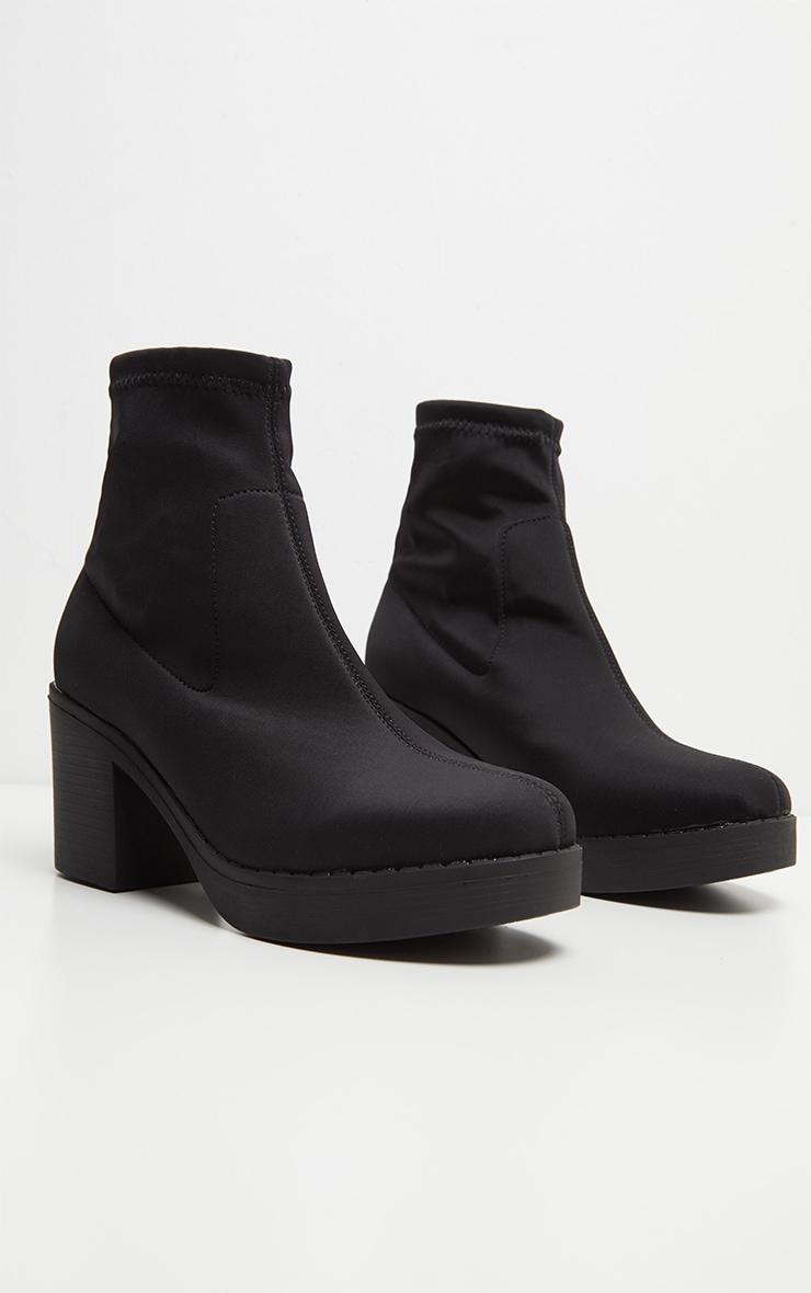 Bottes chaussettes plateformes noires en lycra 3