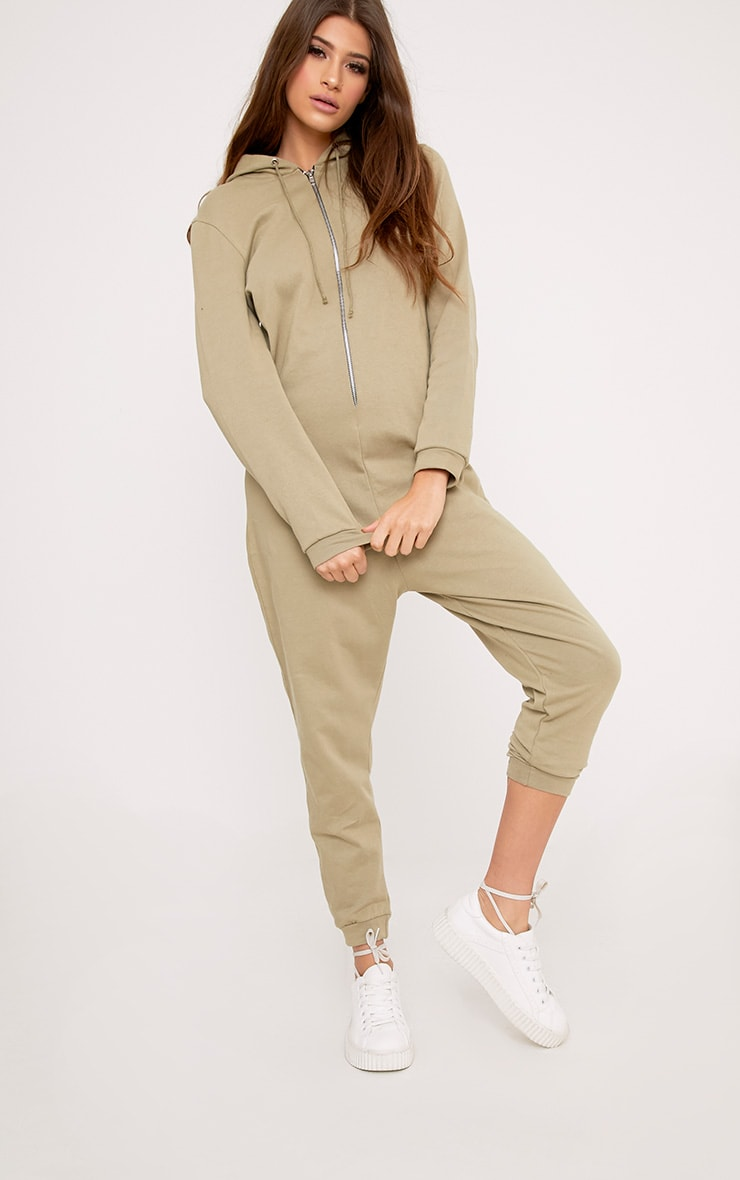 Gillian Sage Sweater Oversized Zip Front Jumpsuit 1