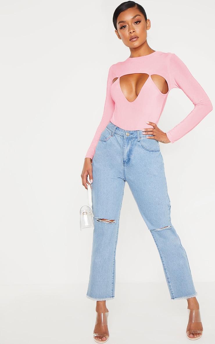Peach Slinky Cut Out Long Sleeve Thong Bodysuit  5