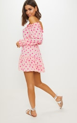 online store pick up really comfortable Dusty Pink Polka Dot Bardot Tie Waist Shift Dress