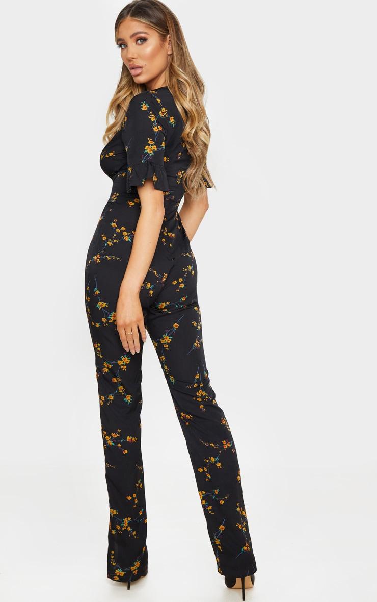 Black Floral Print Corset Frill Sleeve Jumpsuit 2