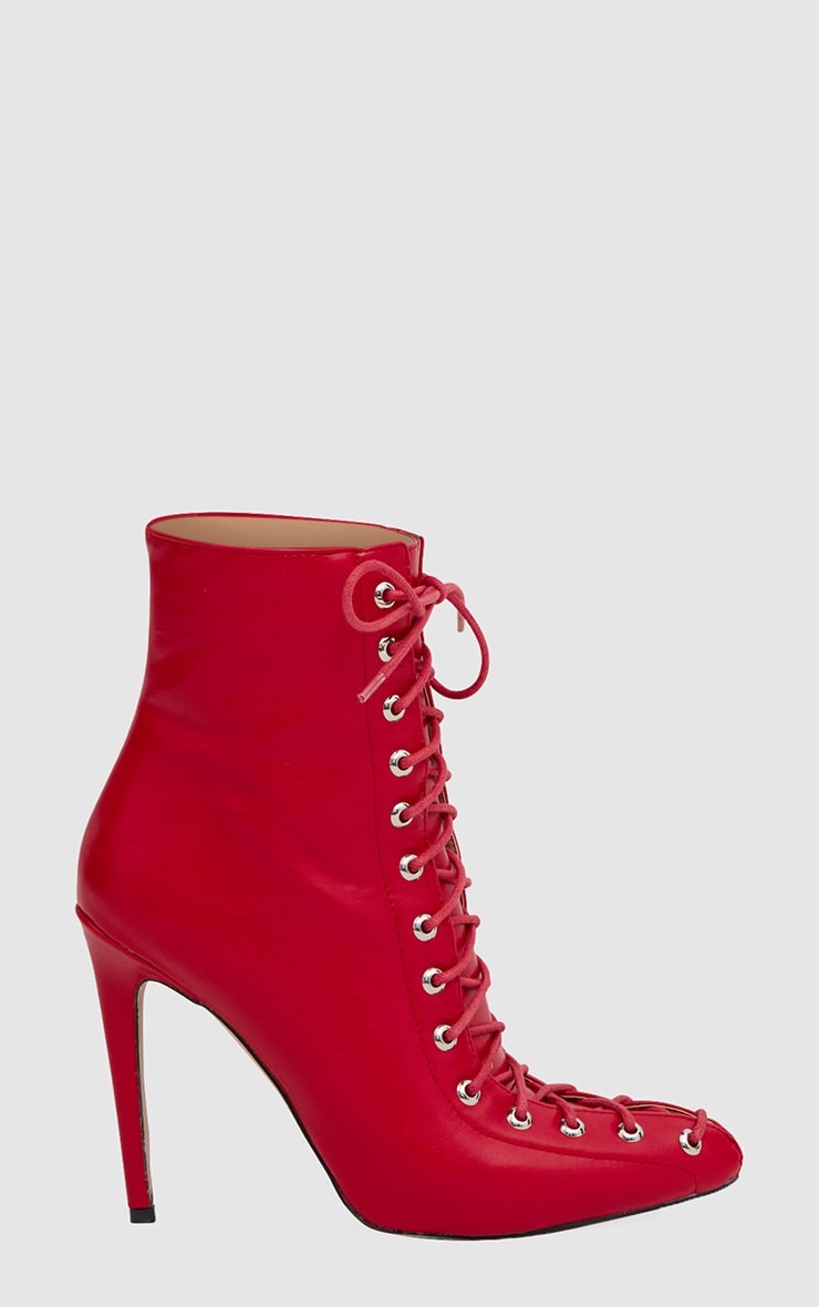 Red Corset Pointed Stiletto Ankle Boots 3