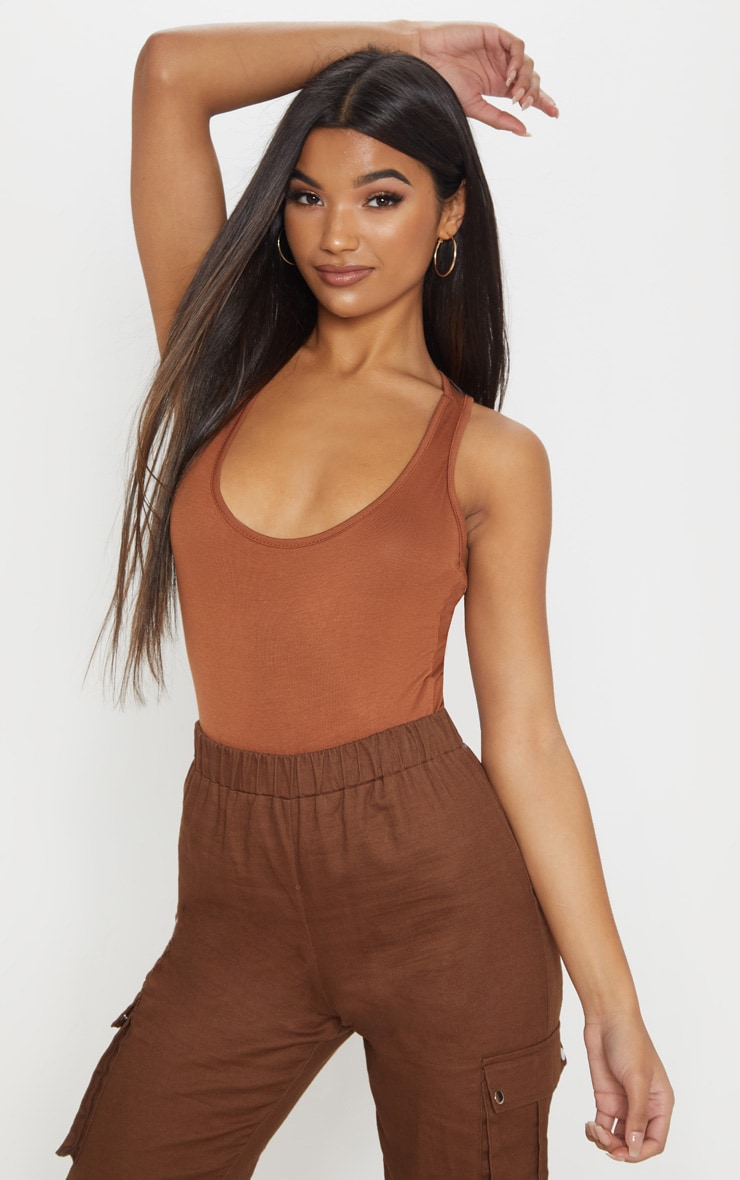 Basic Tan Racer Back Thong Bodysuit 1