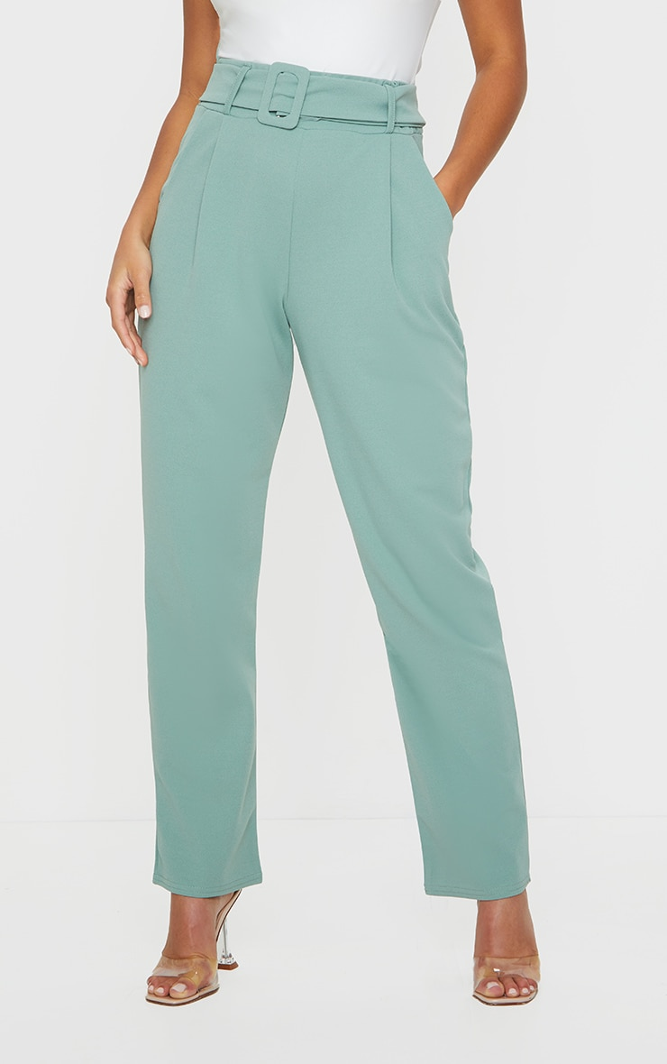 Petite Sage Green Buckle Detail Trouser 2