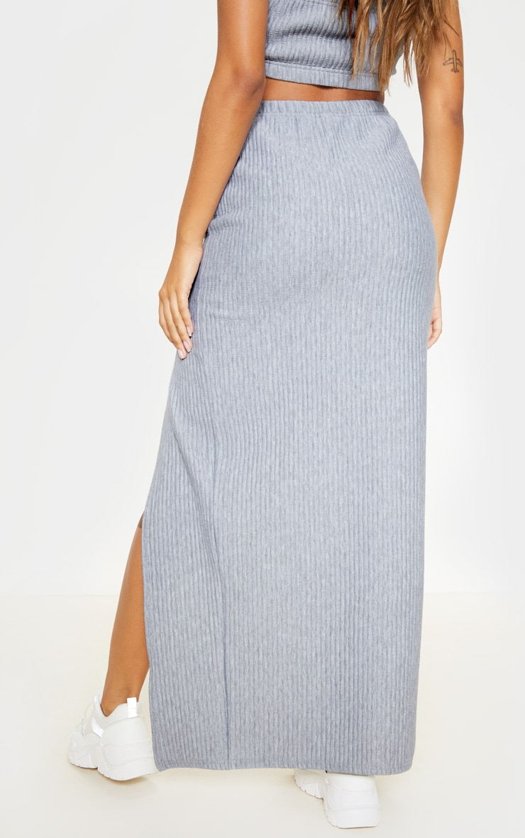 Grey Jumbo Rib Split Detail Maxi Skirt 4