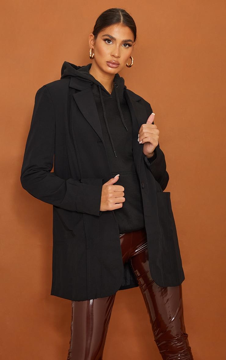 Tall   Black Shoulder Pad Oversized Dad Blazer 1