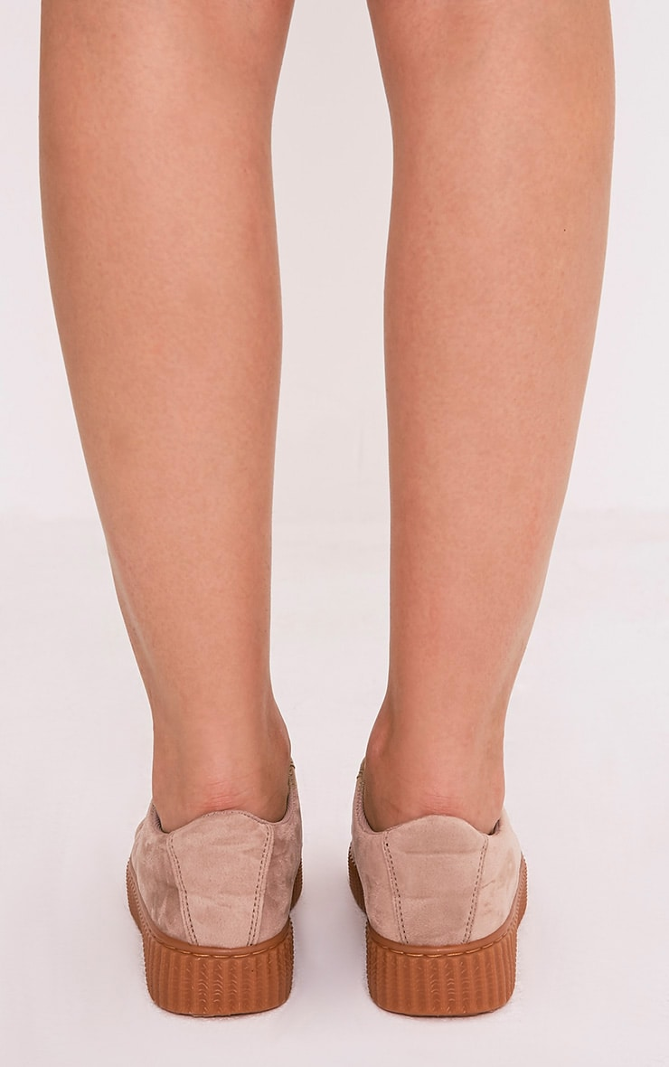 Kailey Nude Faux Suede Creepers 4