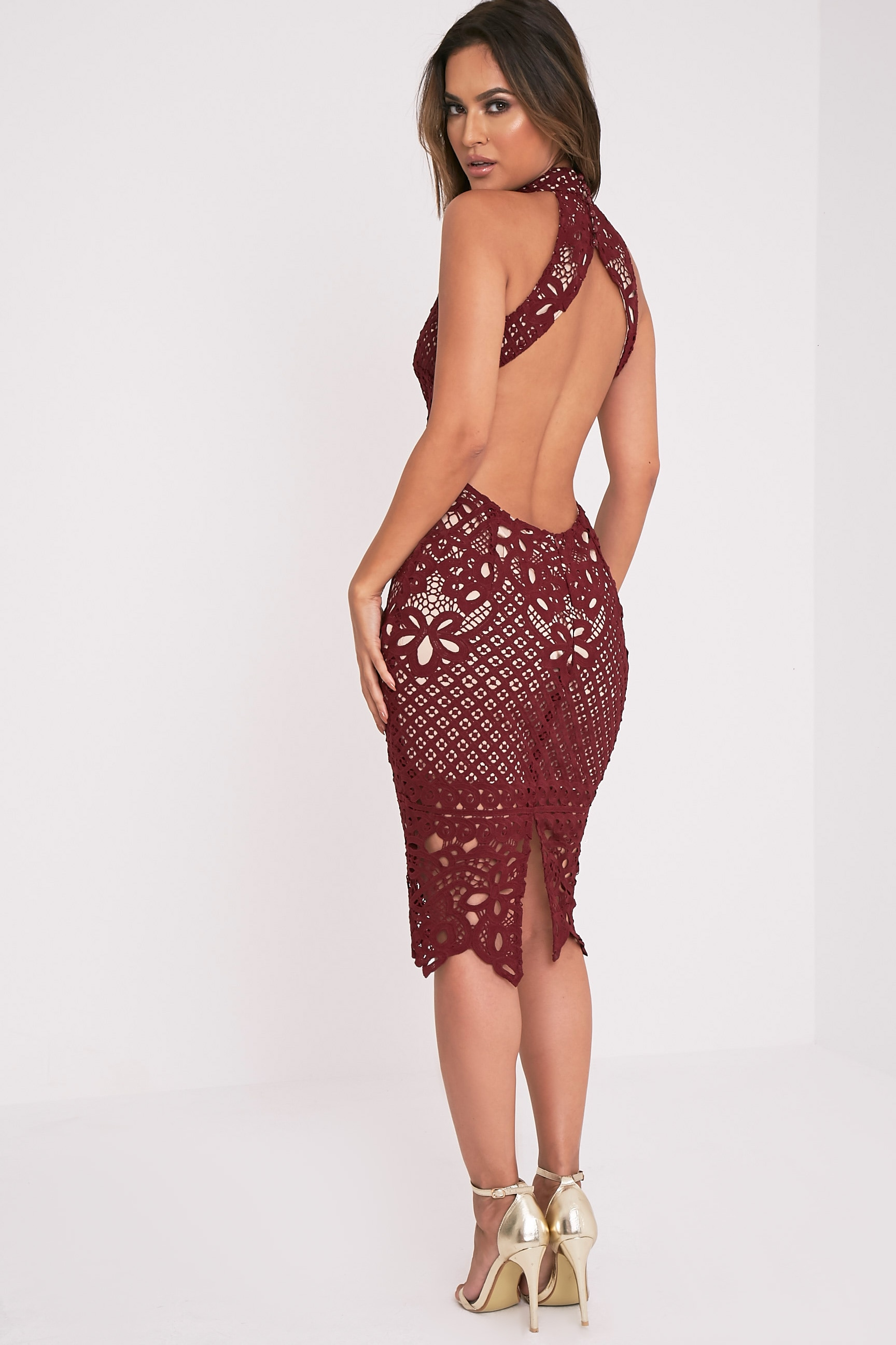 Hanny Burgundy Crochet Lace Backless Midi Dress 4