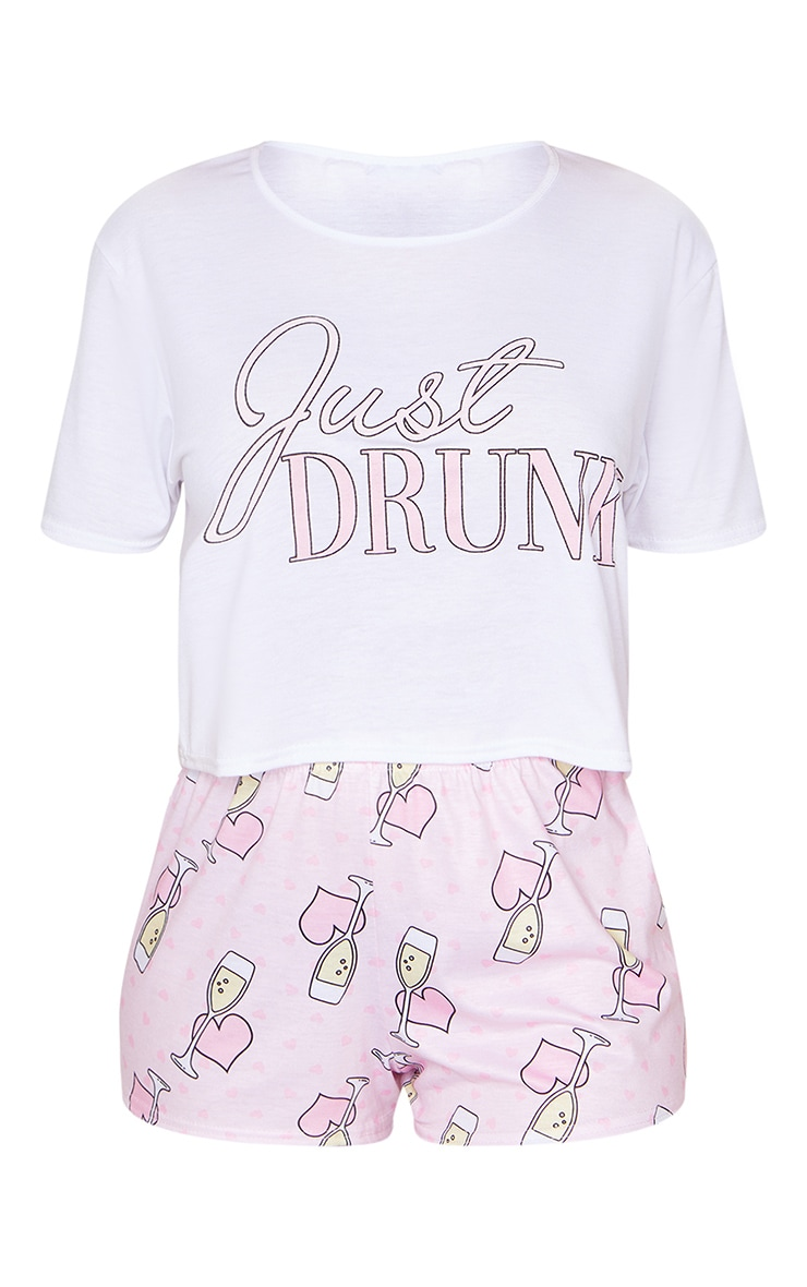 White Just Drunk Hen Party Printed Short PJ Set 5
