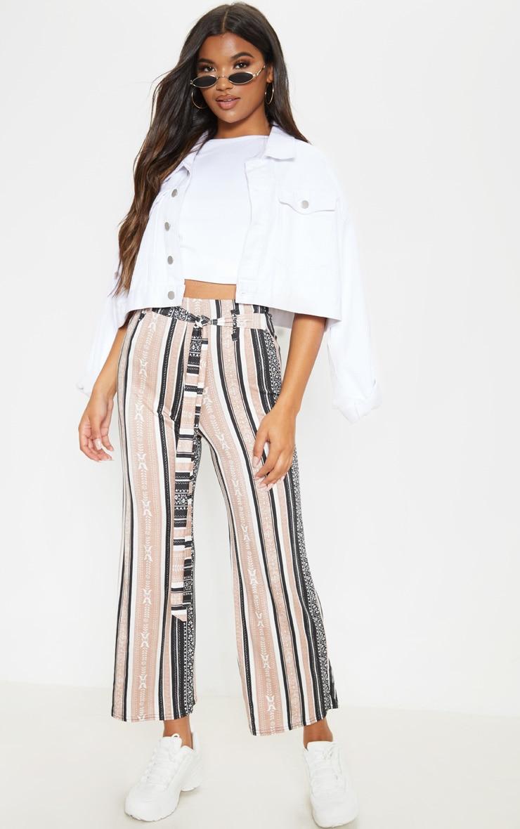 Camel Printed Stripe Longline Culottes 1