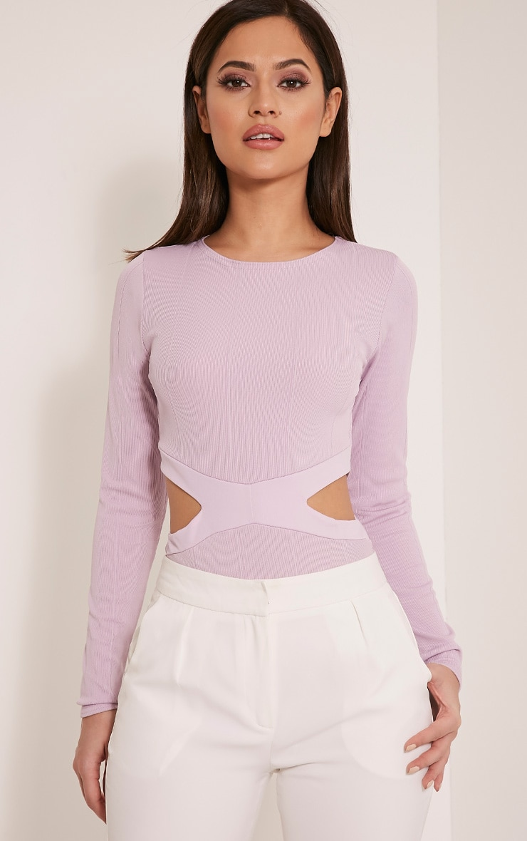 Alessia Mauve Bandage Cut Out Bodysuit 1