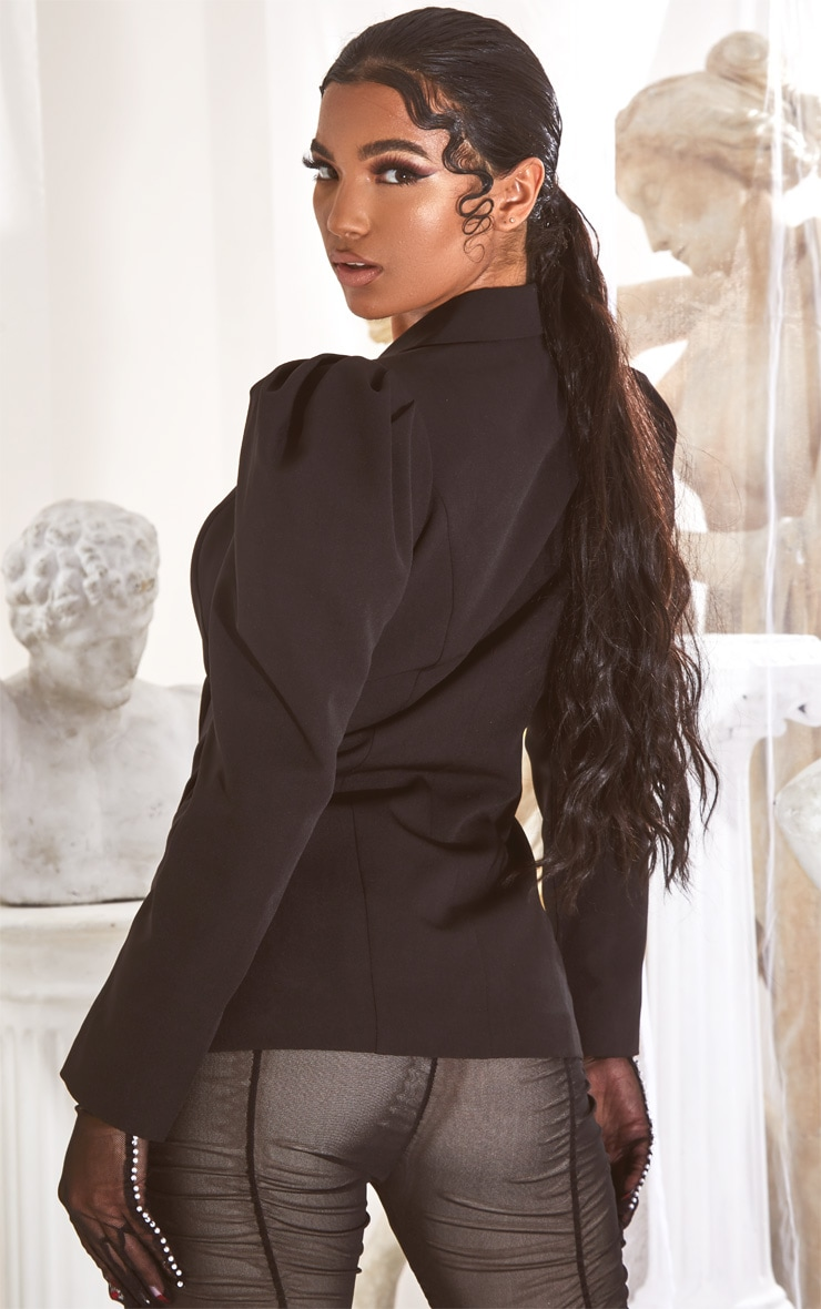 Black Puff Sleeve Pearl Button Fitted Blazer 2