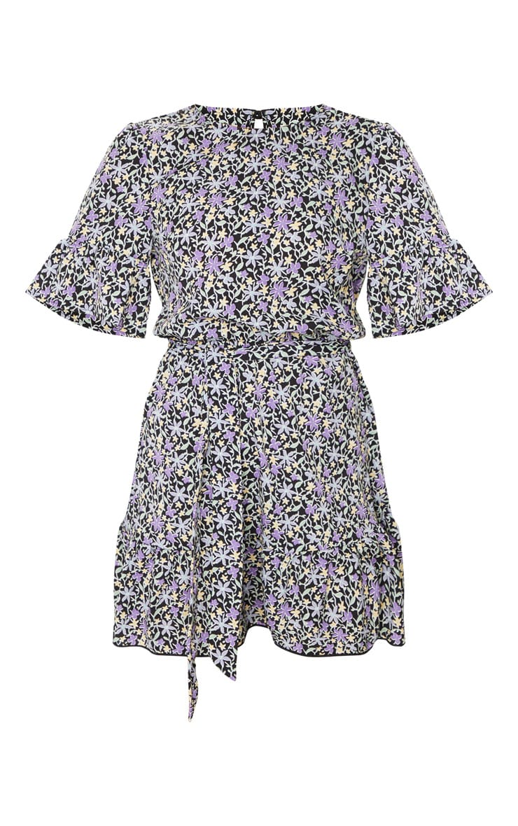 Black and Purple Ditsy Floral Print Tie Detail Dress 5