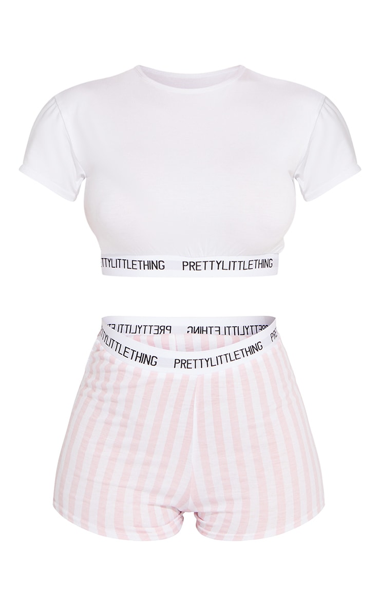 PRETTYLITTLETHING Pink Stripe Short PJ Set 1