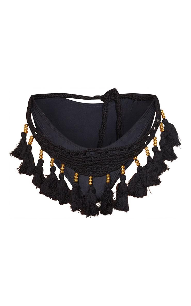 Black Crochet Tassel Knit Bikini Bottoms 5