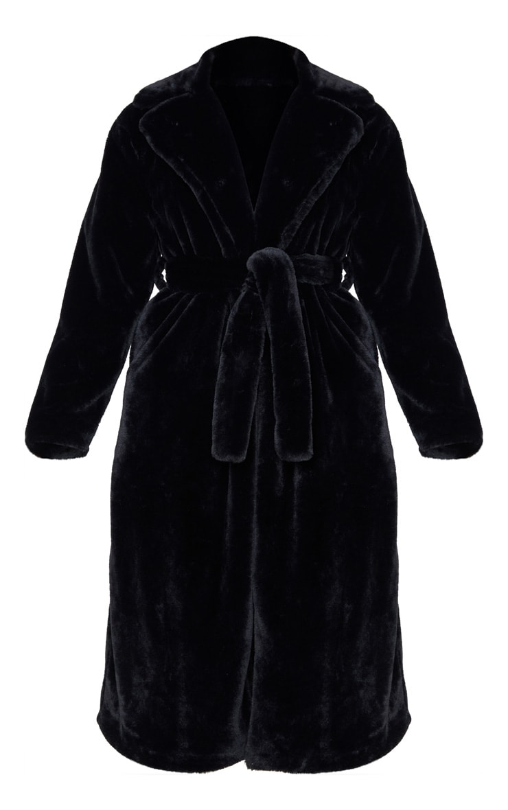 Tall Black Belted Faux Fur Coat 3