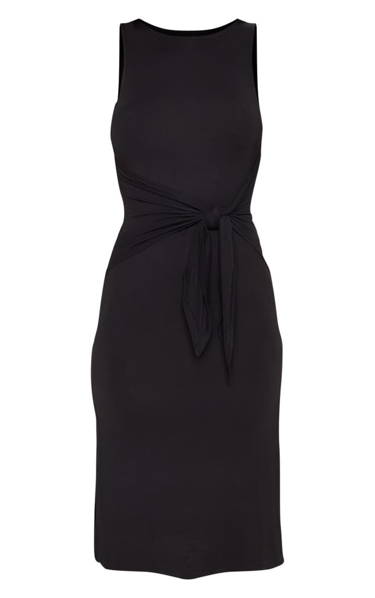 Black Sleeveless Tie Waist Midi Dress 3