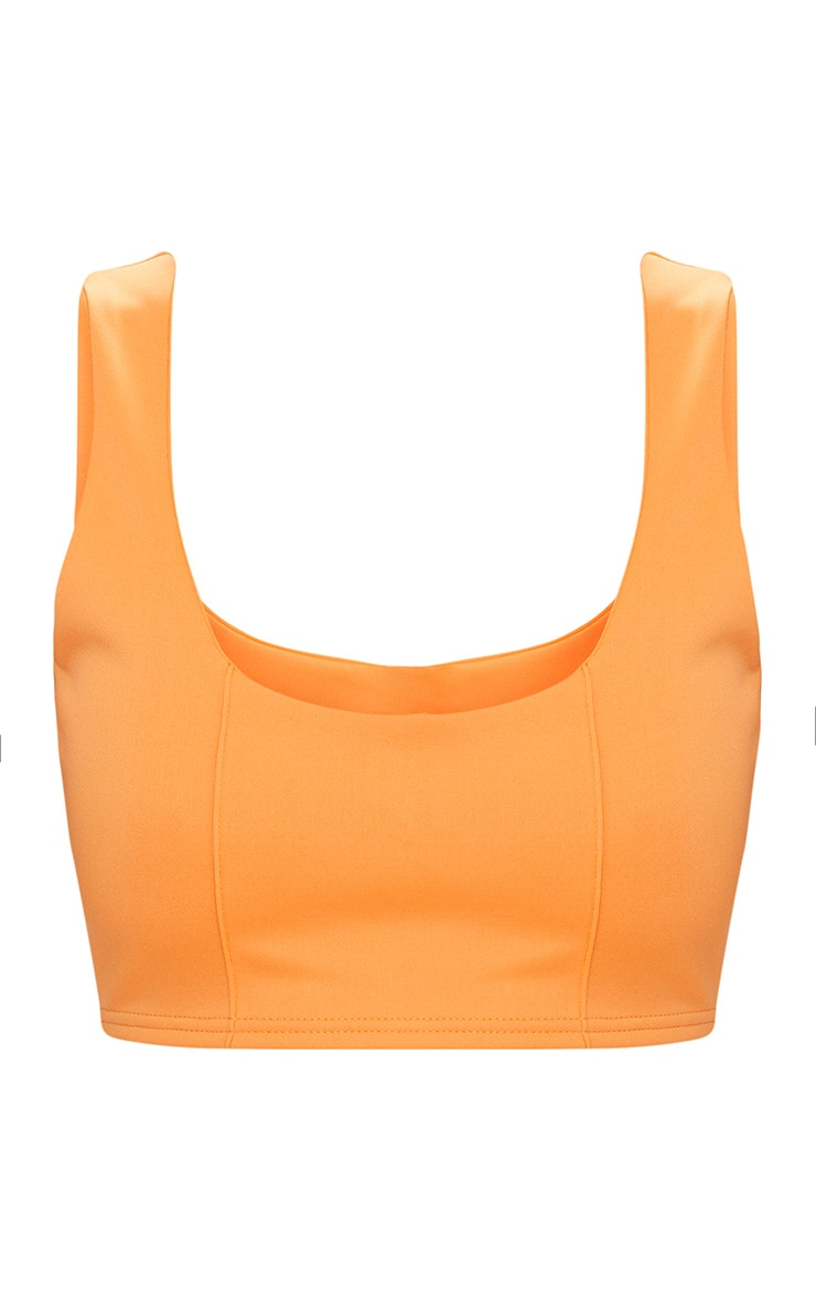 Tangerine Square Neck Zip Back Crop Top 3