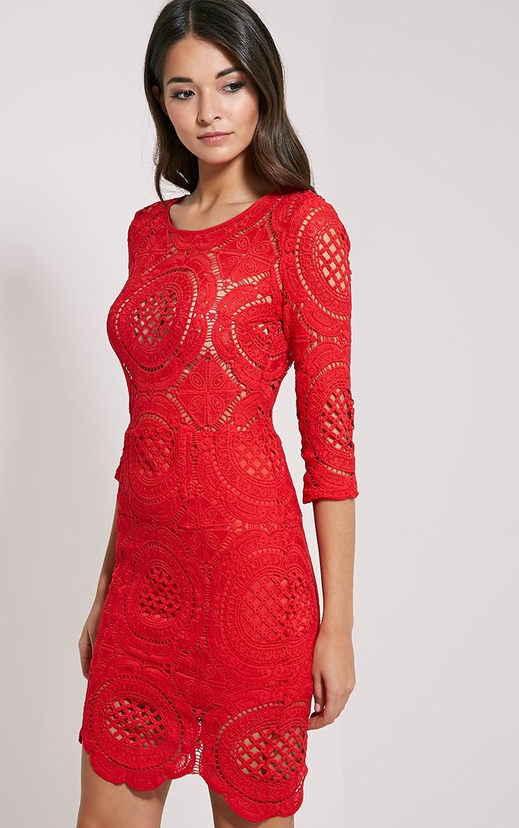 Annice Red Crochet Scallop Edge Dress 4