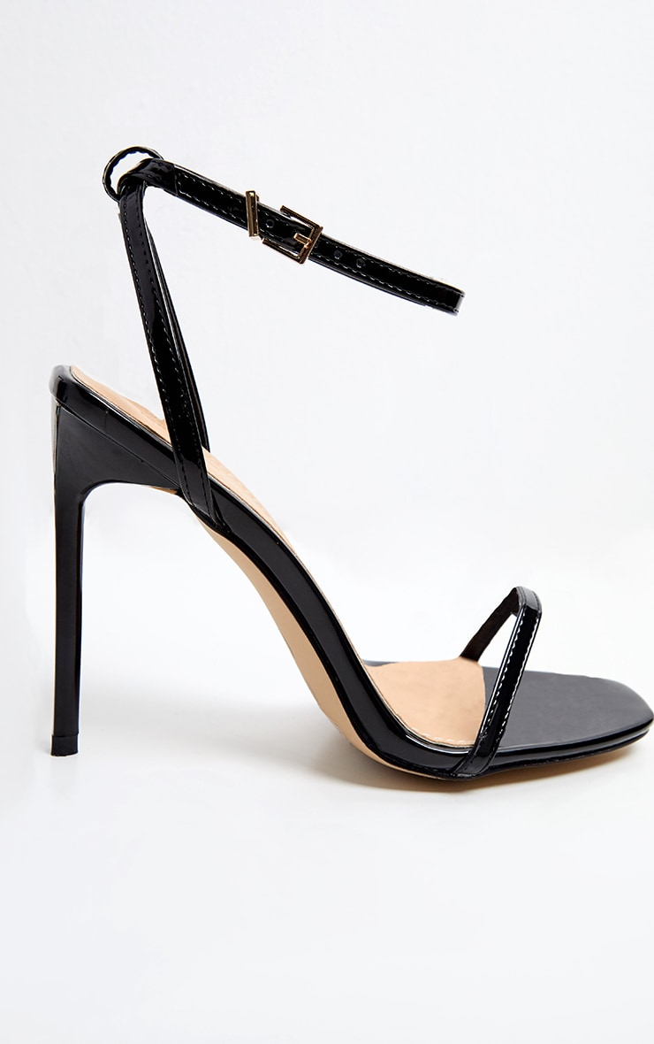 Black Square Toe Strappy Sandal 2