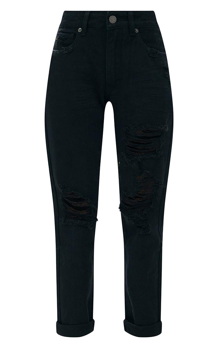 Black Distressed Rip Mom Fit Jean 3