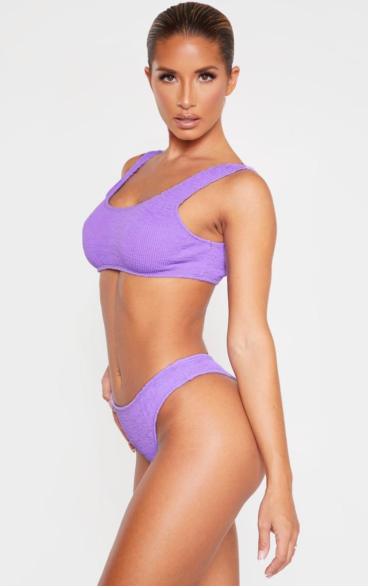 Purple Crinkle Thong Bikini Bottom 3