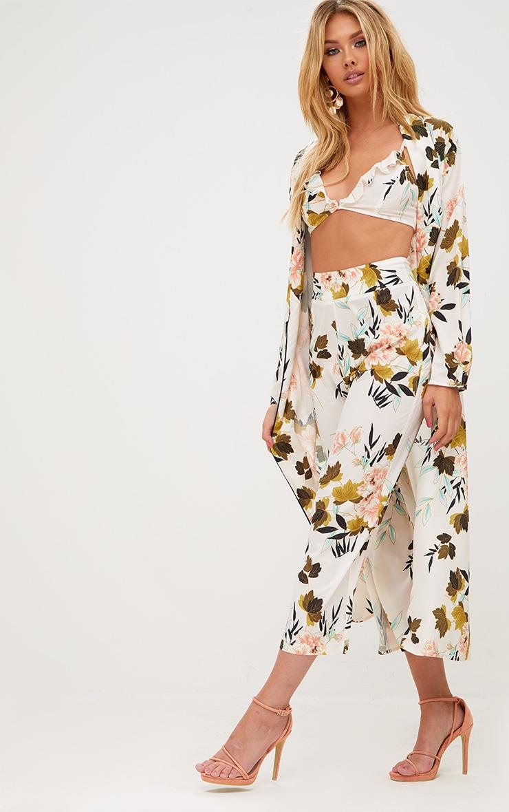 Cream Floral Kimono Culotte 1