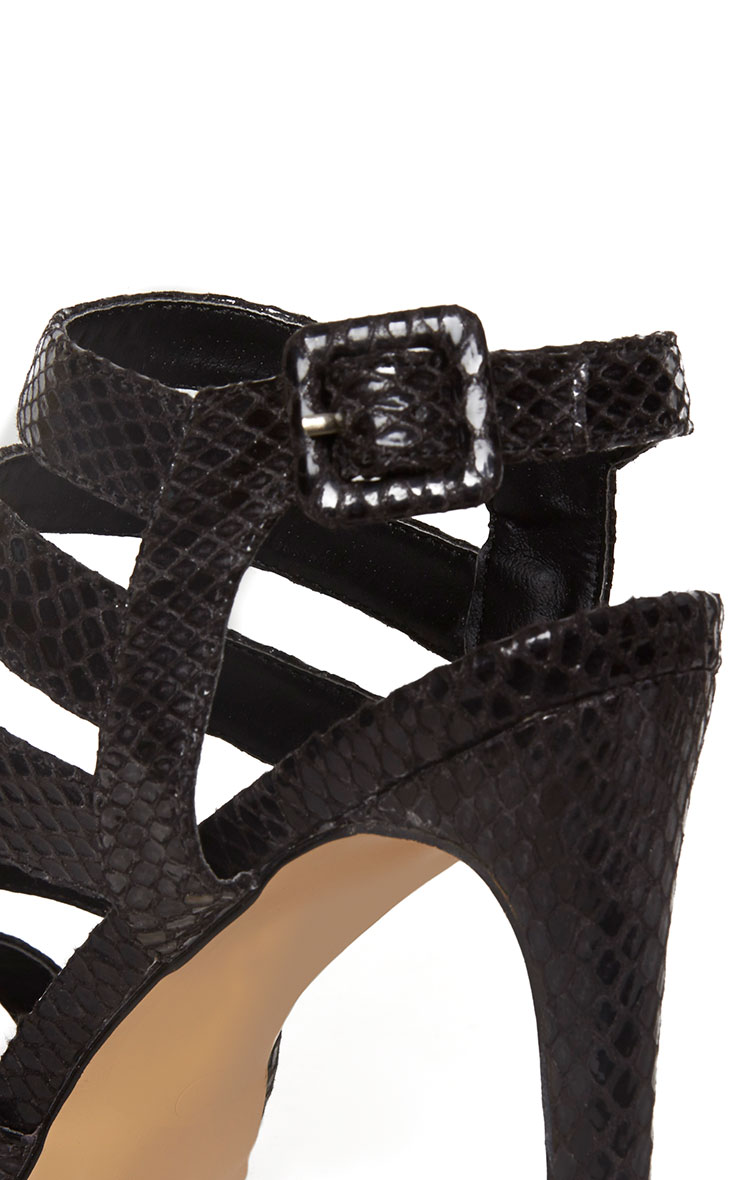 Jemimah Black Strappy Heeled Sandals 7