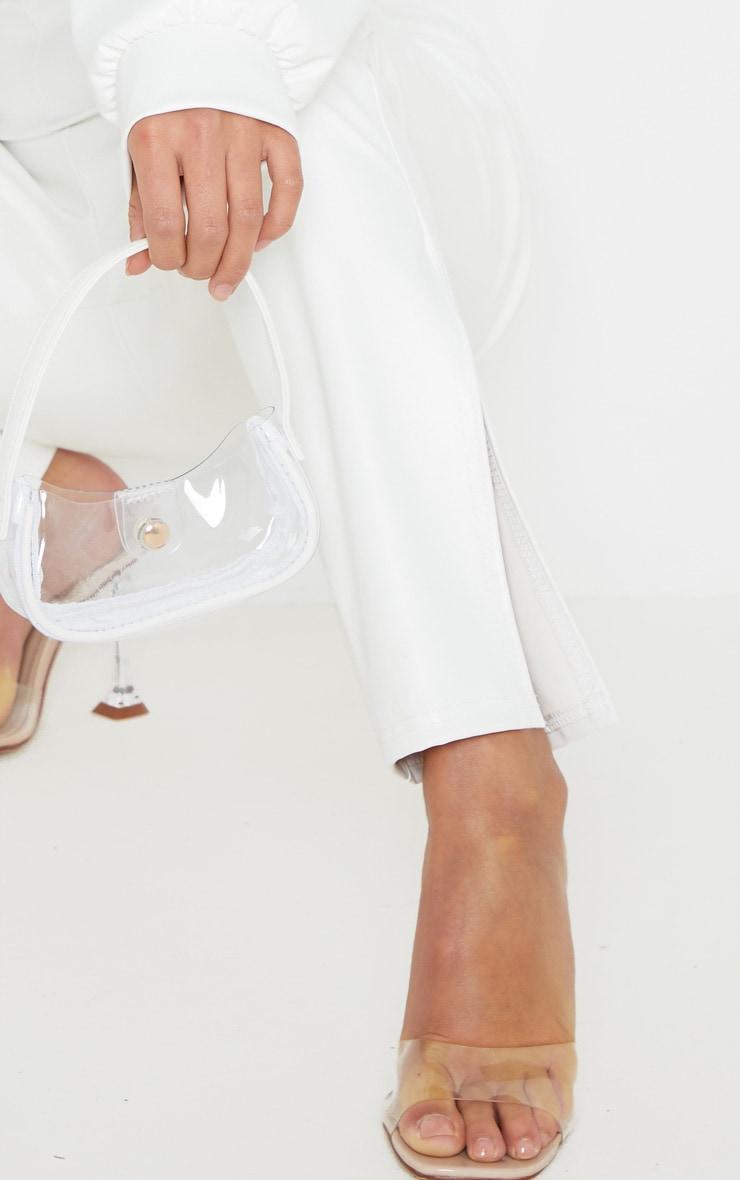 Petite White Split Hem Flared PU Pants 5