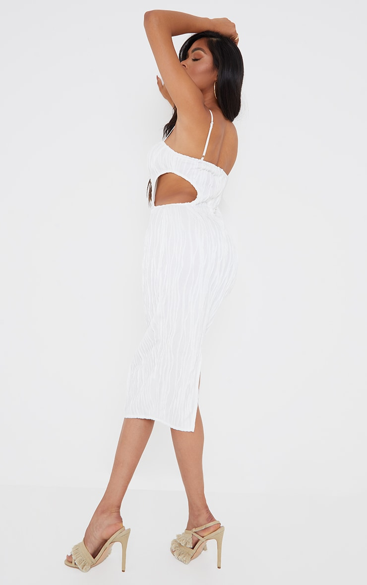 White Exposed Seam Strappy Cut Out Cup Detail Midi Dress 2