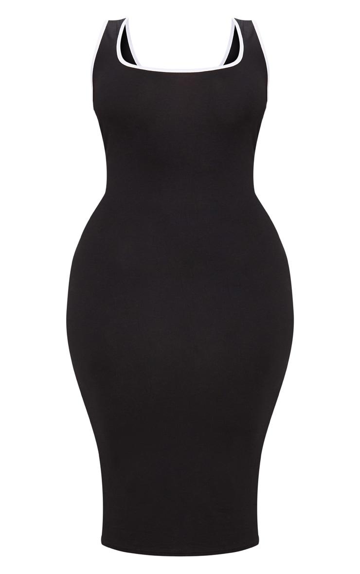 Plus Black Contrast Square Neck Midi Dress 3